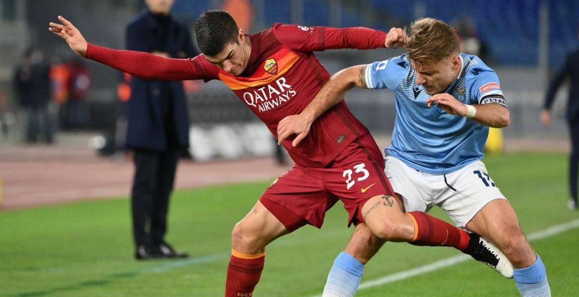 Immobile_Mancini_Lazio_Roma_lapresse_2021